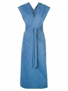 Derek Lam Lightweight Denim Sleeveless Wrap Dress - Blue