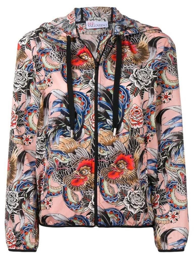 Red Valentino printed hooded jacket - Pink