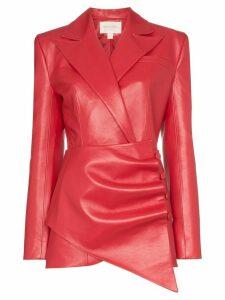 Matériel gathered asymmetric blazer