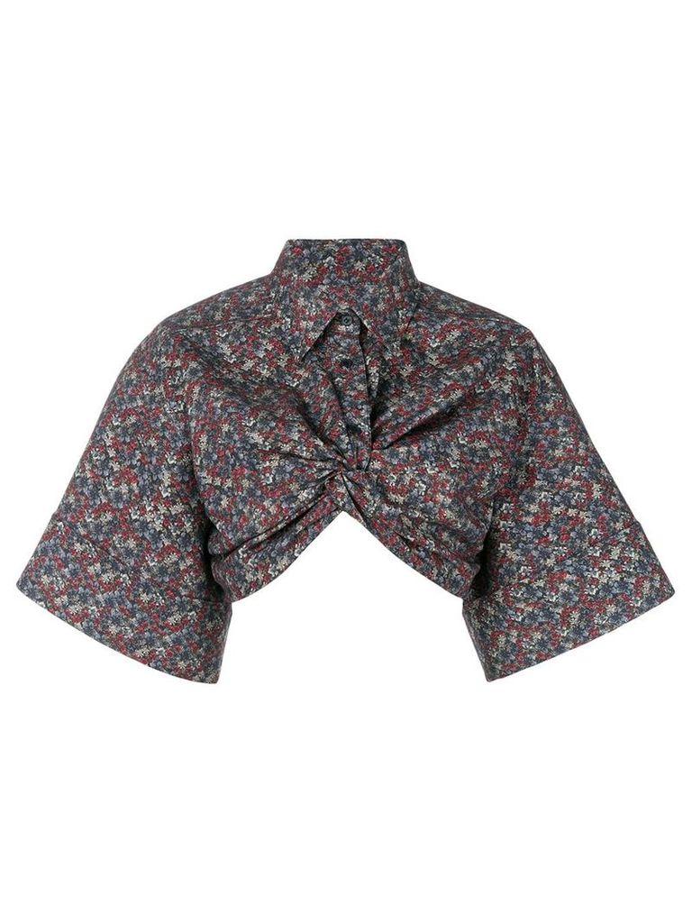 pushBUTTON cropped blouse - Black