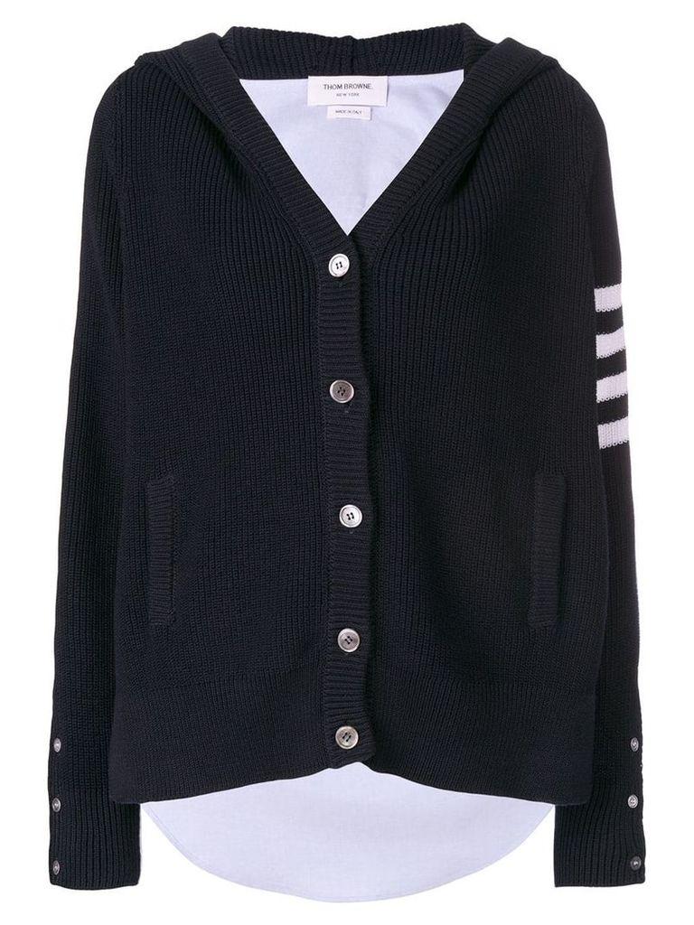Thom Browne 4-Bar 1/2-&-1/2 Hooded Cardigan Shirt - Blue