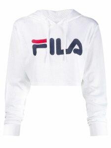 Fila logo print cropped hoodie - White