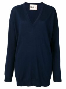 Plan C V-neck longline sweater - Blue