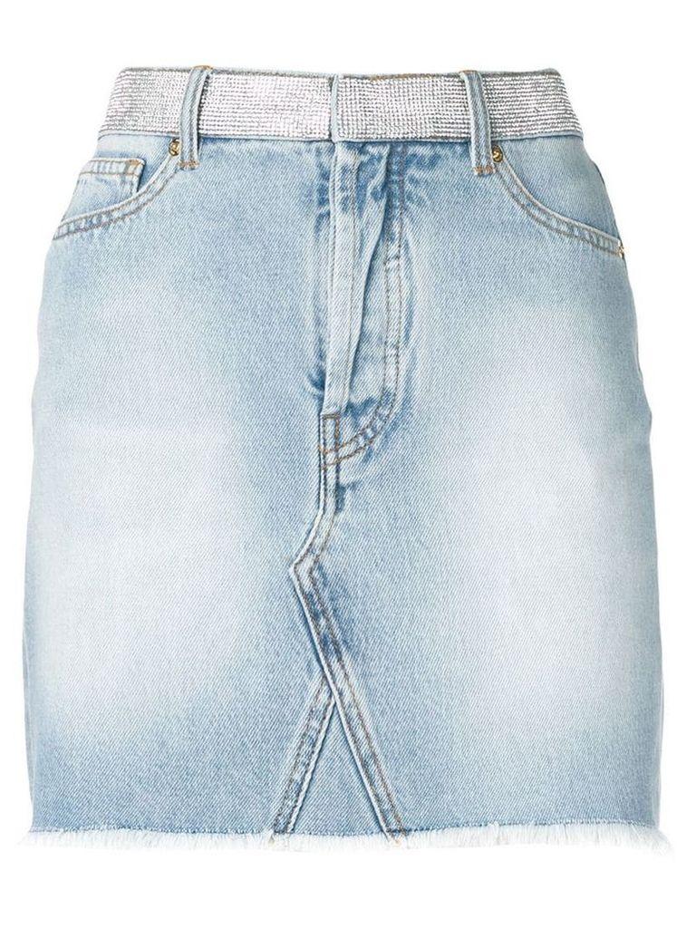 Alexandre Vauthier crystal embellished denim skirt - Blue