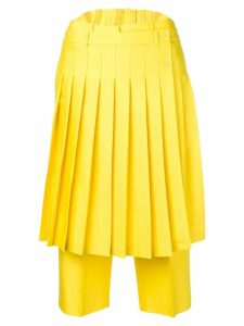 pushBUTTON pleated front cropped trousers - Yellow