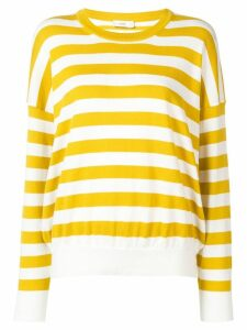 Closed striped jersey sweater - Yellow