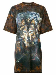 Balmain wolf print T-shirt - Brown