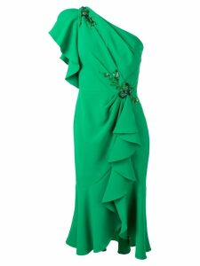 Marchesa Notte one shoulder ruffled dress - Green