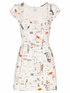 Miaou Gigi newspaper print dress - White