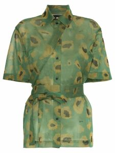 Asai Camo Gleam sheer strap shirt - Green