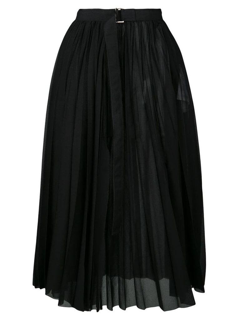 Sacai belted pleated skirt - Black