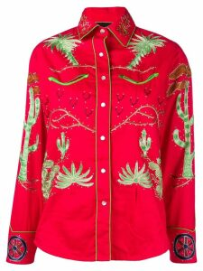 Jessie Western wagon wheel print shirt - Red