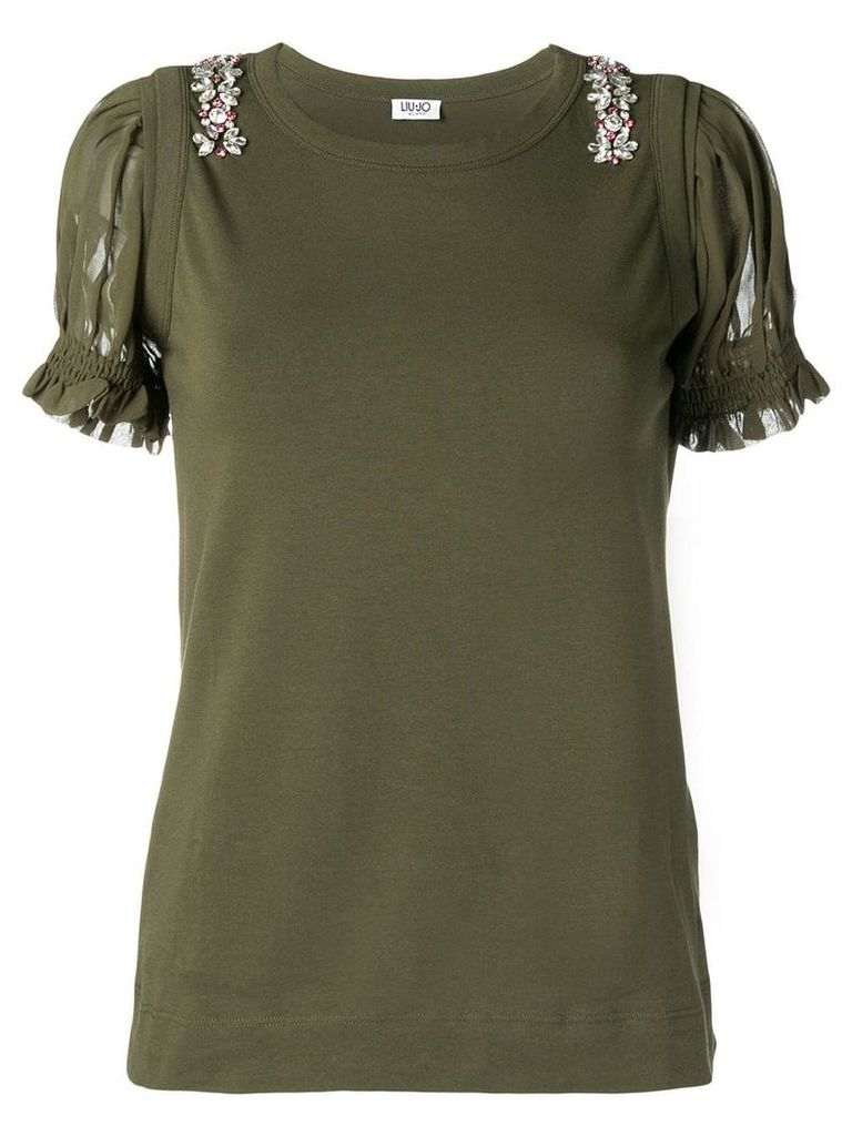 Liu Jo embellished ruffled-sleeve T-shirt - Green