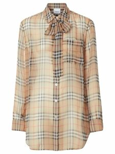 Burberry Vintage Check Silk Tie-neck Shirt - Neutrals