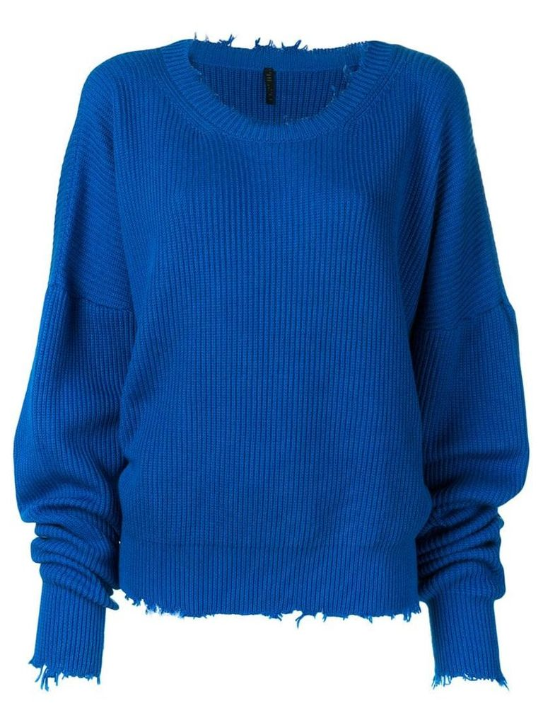 Unravel Project distressed ribbed jumper - Blue