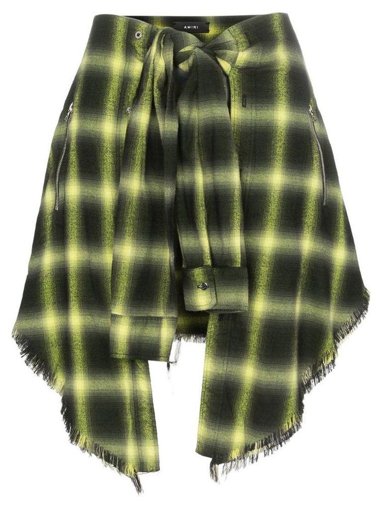 Amiri tie-waist check skirt - Yellow