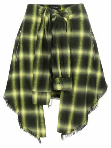 Amiri tie-waist check skirt - Yellow
