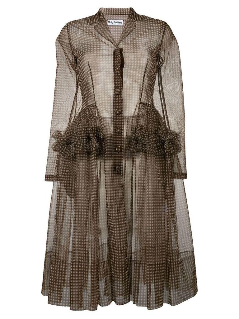 Molly Goddard gingham coat - Brown