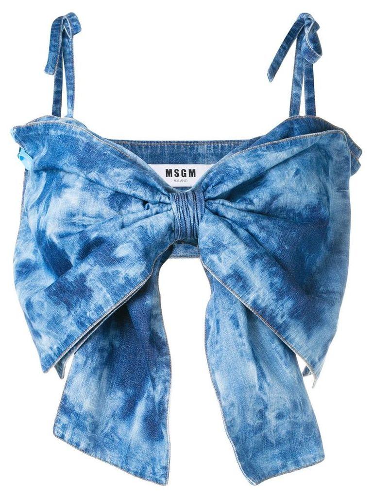 MSGM denim bow top - Blue