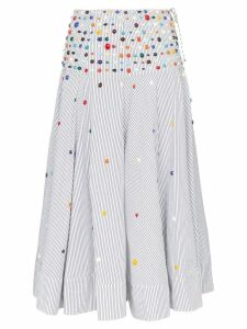Rosie Assoulin bead-embellished striped skirt - White