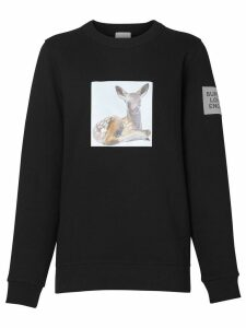 Burberry Deer Print Cotton Oversized Sweatshirt - Blue