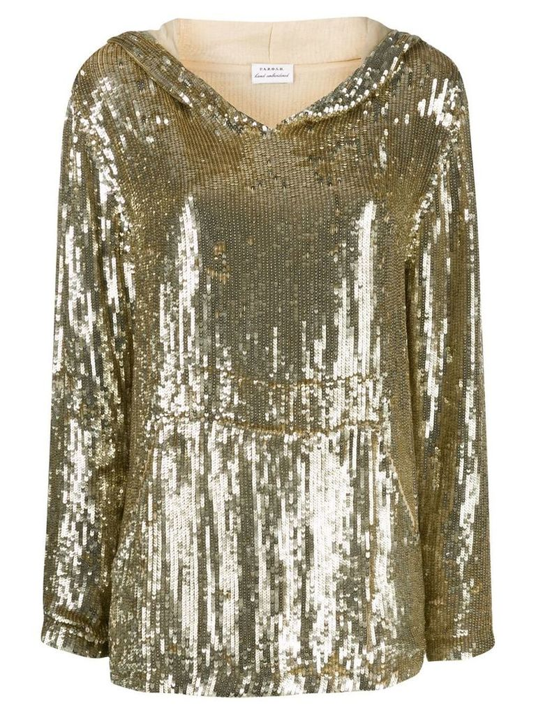 P.A.R.O.S.H. sequin double layer sleeve hoodie - Gold