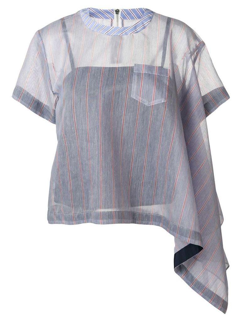 Sacai striped asymmetric blouse - Blue