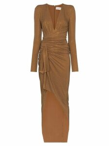 Alexandre Vauthier V-neck crystal embellished gown - Brown