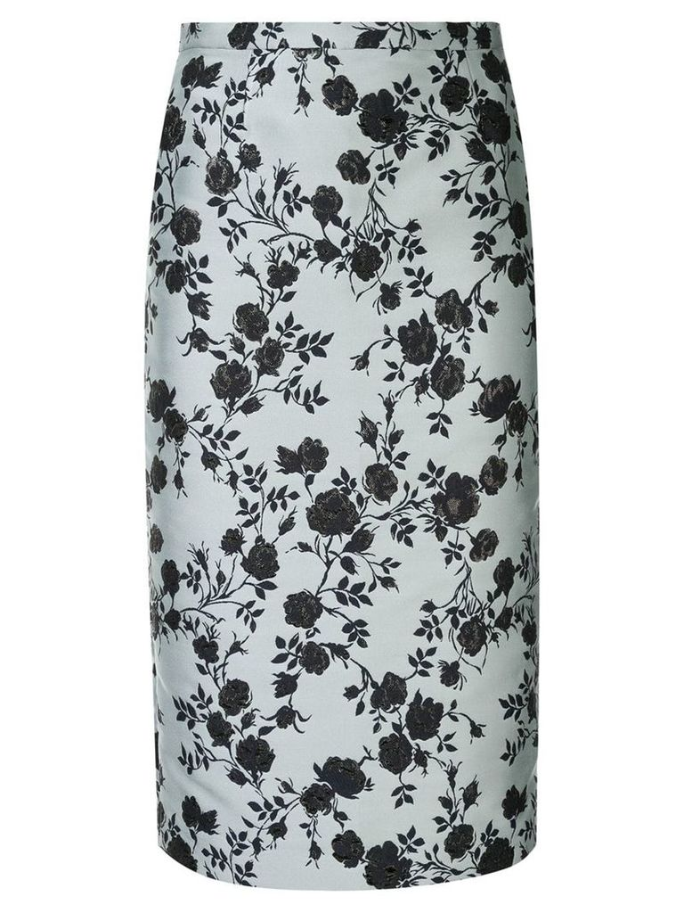 Rochas floral jacquard pencil skirt - Blue