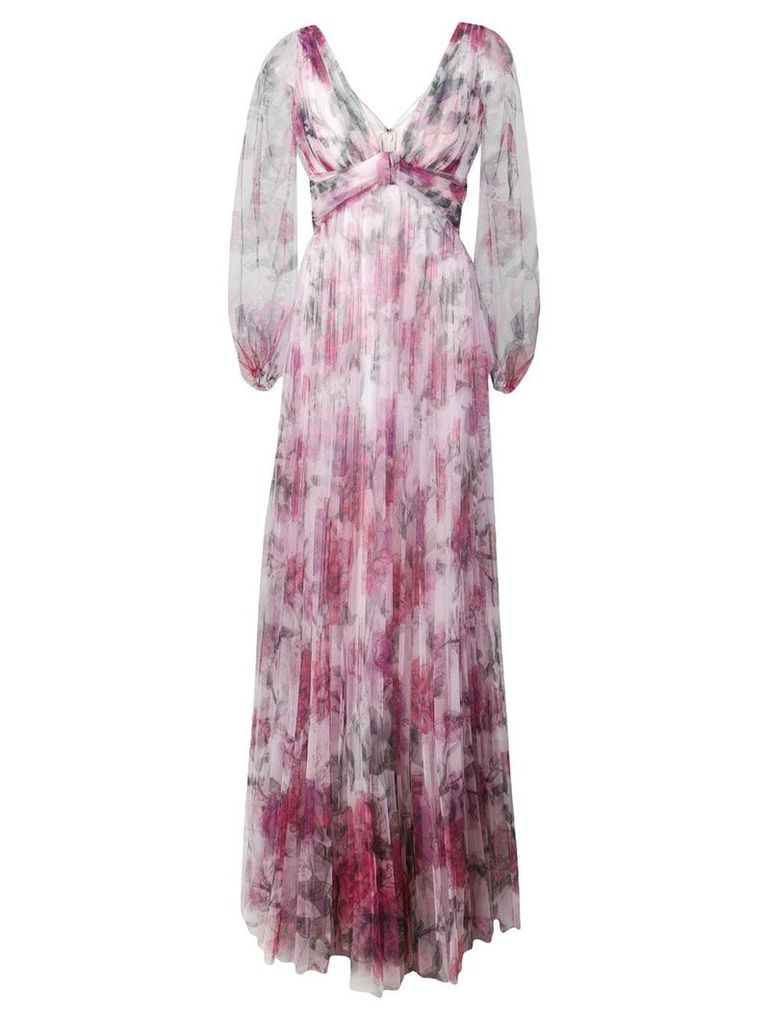 Marchesa Notte floral pleated evening dress - Pink
