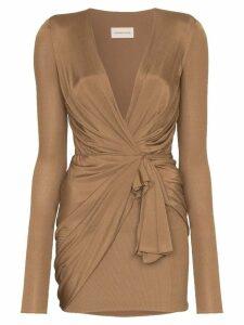Alexandre Vauthier wrap mini dress - Brown