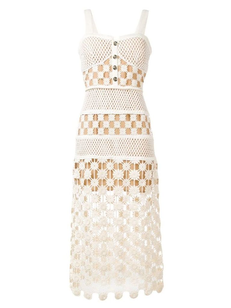 Self-Portrait crochet midi dress - Neutrals