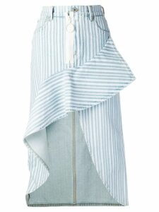 Off-White striped asymmetric skirt - Blue