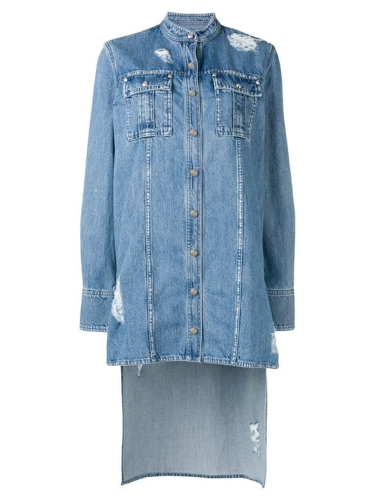 Balmain distressed denim long shirt - Blue