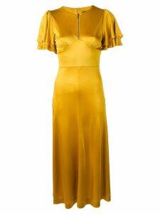 Alexa Chung satin midi dress with pleated-sleeved - Yellow