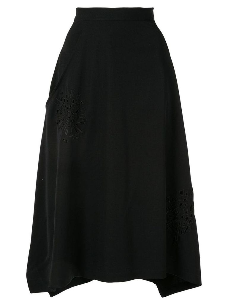 Y's embroidered asymmetric skirt - Black