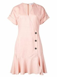 Derek Lam 10 Crosby Short Sleeve Wrap Dress with Pleated Hem - Pink