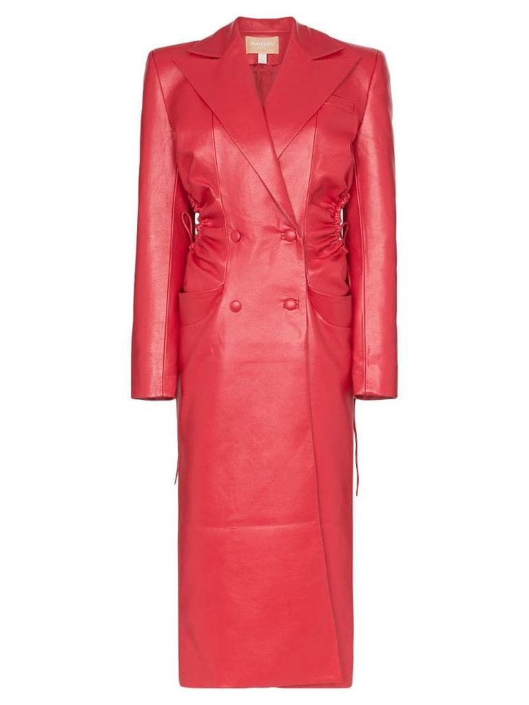 Matériel long double-breasted coat - Red
