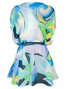 Emilio Pucci Acapulco Print Silk Beach Dress - Blue