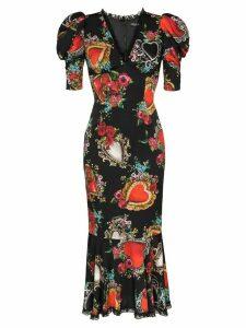 Dolce & Gabbana Sacred Heart print puff sleeve dress - Hnbb3