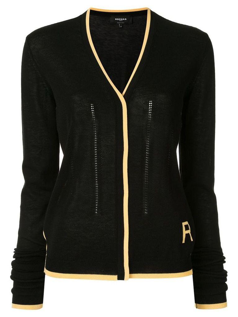 Rochas contrast trim cardigan - Black