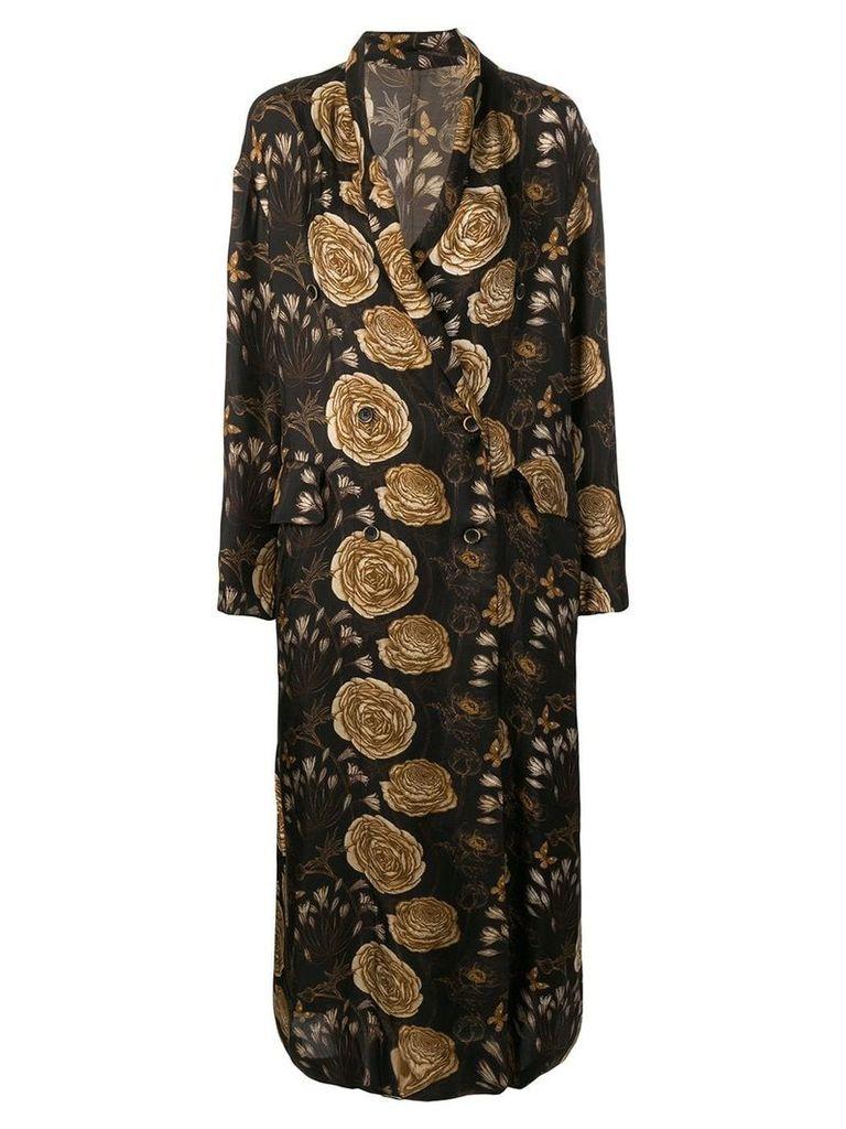 Uma Wang Rose printed long coat - Black