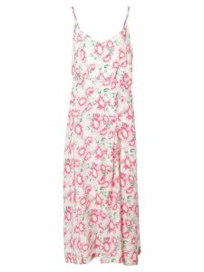 Les Reveries Floral Print Slit Silk Dress - Pink