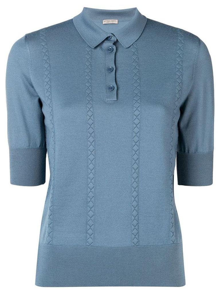 Bottega Veneta knitted polo top - Blue