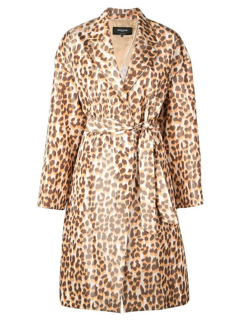 Rochas leopard print belted coat - Orange