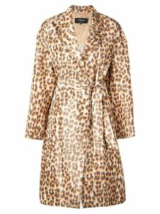 Rochas leopard print belted coat - Orange