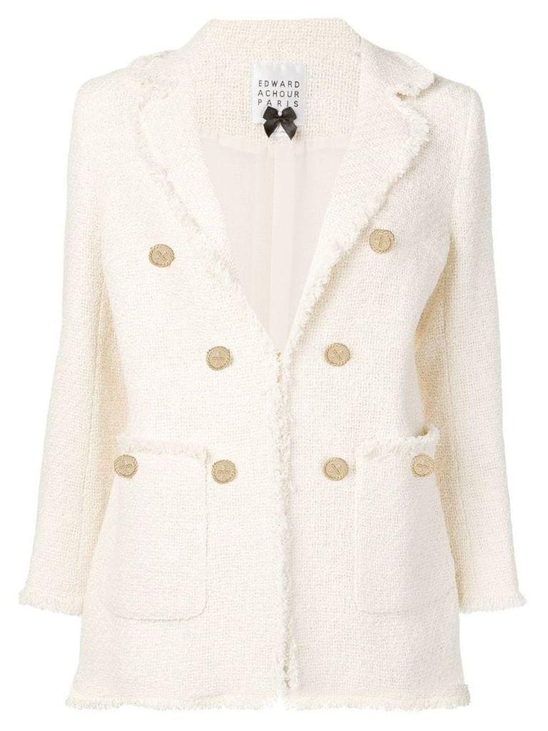 Edward Achour Paris structured tweed blazer - Neutrals