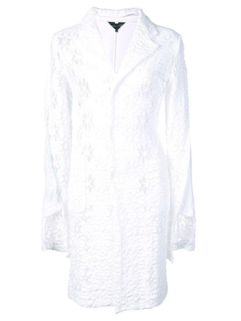 Comme Des Garçons floral lace deconstructed coat - White