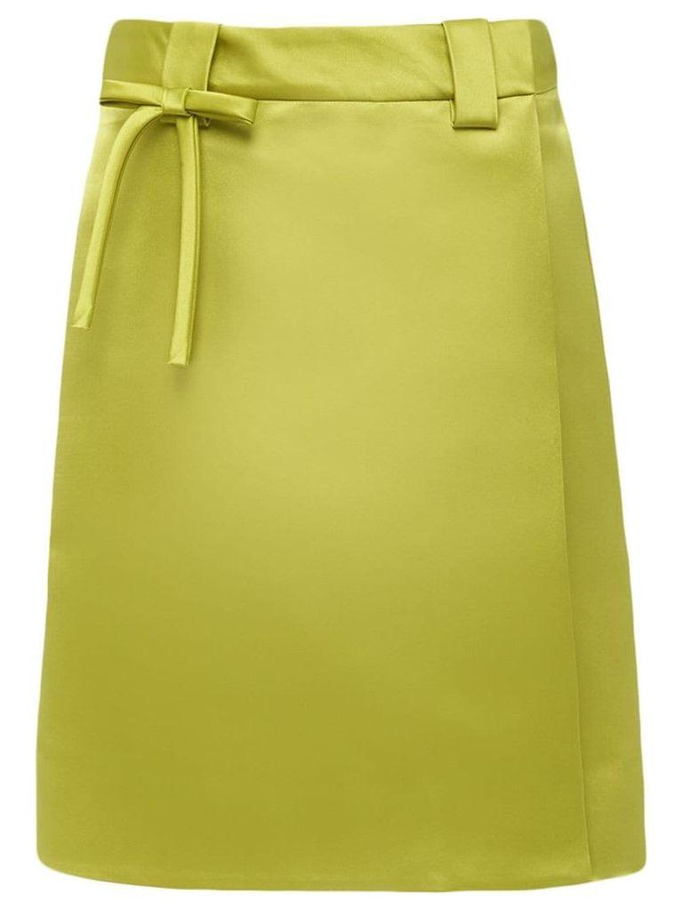 Prada bow-embellished satin skirt - Green
