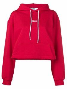 MSGM contrast logo hoodie - Red